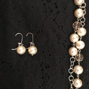 LOFT Pearl Necklace and Earring Set